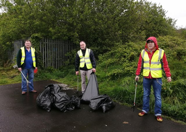 Members of the Pearse Starrs Cumann (Brandywell & Bishop Street ) and Martin McGuinness Cumann Bogside involved in an environmental litter picking clean up- out 'the line' on the banks of the River Foyle on Saturday morning past.