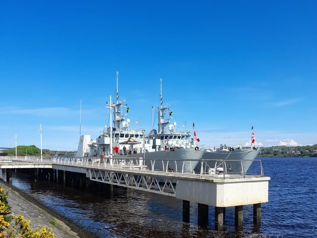 The HMCS Summerside, on the left, and the HMCS Kingston on Sunday.