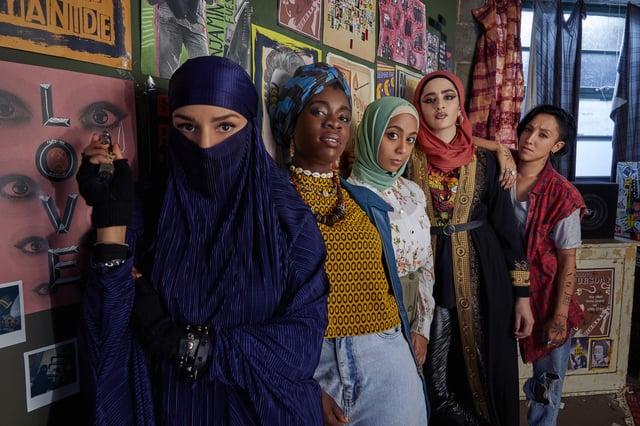 Lucie Shorthouse (Momtaz), Faith Omole (Bisma), Anjana Vasan (Amina), Juliette Motamed (Ayesha) and  Sarah Impey (Saira)