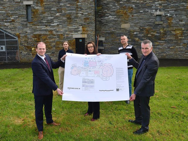 Junior Ministers Gordon Lyons and Declan Kearney heard from Gasyard Centre manager Linda McKinney, Michael Cooper and Cormac Keenan about the ambitious plans for an extension and new exhibition space at the Lecky Road community facility.