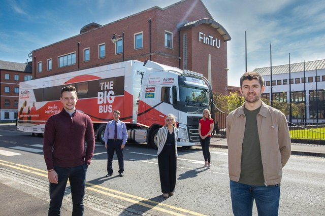 Launching FinTrU's new charity partnership and pictured in front of Action Cancer's new Big Bus are: Conor Winchester, Charity Committee FinTrU; Gareth Kirk, Action Cancer CEO; Katrien Hoppe, Chief of Staff FinTrU; Lucy McCusker, Corporate Fundraising Manager, Action Cancer and Enda Hamilton-Fitzpatrick, Charity Committee FinTrU.