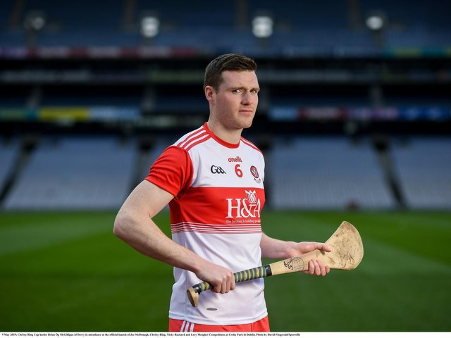 Banagher's Brian Og McGilligan will be back as Derry hurlers travel to Kildare on Sunday.