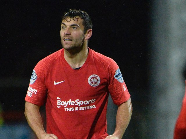 David McDaid hopes to add an Irish Cup medal alongside his FAI Cup medal, which he won with Derry City in 2012, when Larne face Linfield tonight in the showpiece final at Mourneview Park. Picture by Stephen Hamilton/INPHO