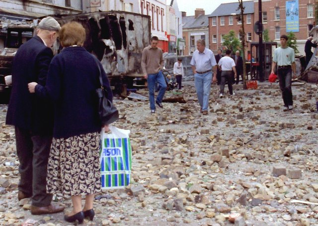 The day after major riot, William Street, Derry.