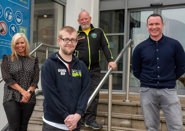 Members of the award-winning team at NWRC – from left Finneen Bradley, Manager NWRC Careers Academy, Aidan McFadden NWRC Students Union, Danny McFeely, Health and Well-Being Officer and Danny Lyttle, NWRC Student Event and Liaison Officer. (Pic Martin McKeown).