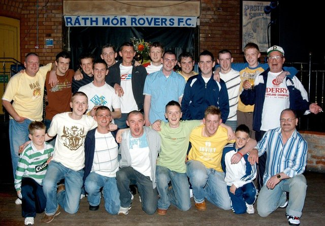 The boys of Rath Mor Rovers FC celebrating on a night out.