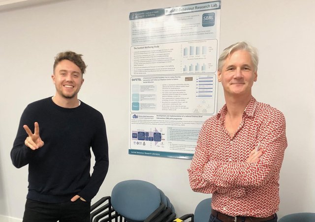 Professor Rory O'Connor with Roman Kemp.