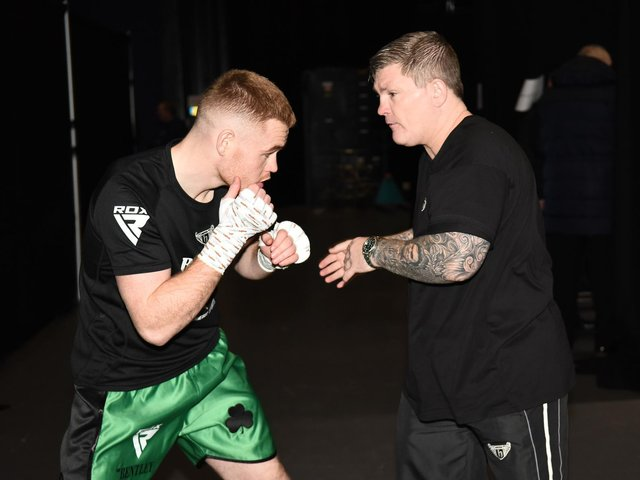 Brett McGinty and trainer Ricky Hatton. Picture courtesy of Hennessy Sports.