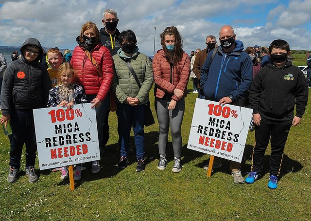 The Doherty and Glackin families from Malin Head were at the mica rally at the Shorefront on Saturday after last. Photo: George Sweeney. DER2120GS – 043