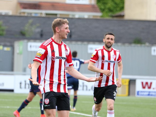 Ronan Boyce celebrates his equalising goal against St Pat's in the first half of the Premier Division clash at Brandywell. Photograph by Kevin Moore.