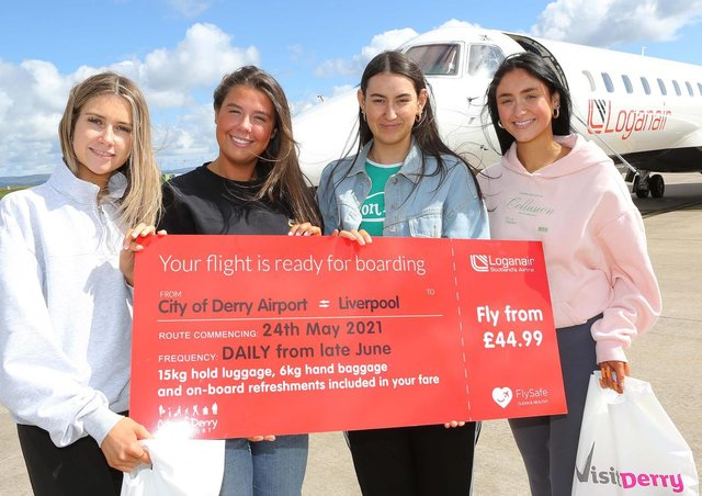Fab Four Derry girls earlier this week about to board the first flight of the new Loganair City of Derry to Liverpool route with a clear message - 'Visit Derry'!