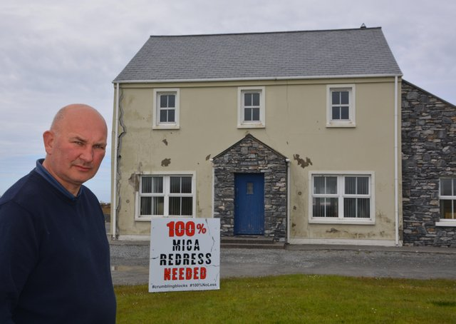 Ali Farren pictured outside his home. Ali supports the campaign for 100% redress for people affected by MICA.