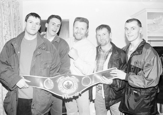 World champion super-middleweight boxer Steve Collins, during a visit to the Lake of Shadows, with from left, Mickey Doherty, Jason Fair and, from right, Joe Donaghey and Mickey Donaghey.