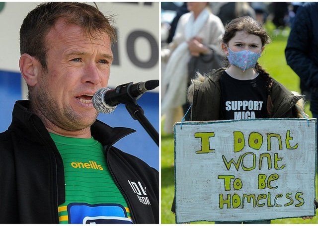 LEFT: Paddy Diver who has instrumental in  galvanising support for the campaign over recent months and RIGHT: Aoife Frazer, from Carndonagh, at the mica rally in Buncrana on Saturday afternoon last. Photos: George Sweeney / Derry Journal. DER2120GS – 046