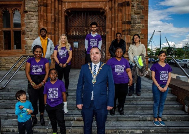The Mayor Brian Tierney with members of the NW Migrants Forum ahead of last night's commemoration.
