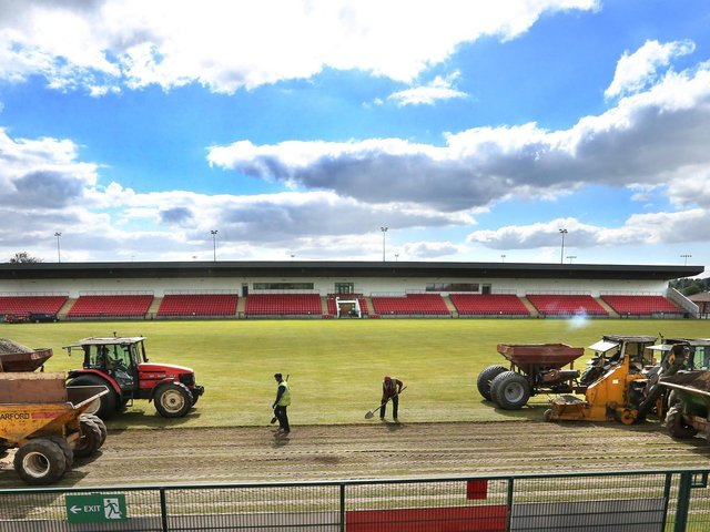 Some of the work being carried out at Owenbeg's main pitch in 2020. Further resurfacing work to other pitches at the complex as well as an upgrade of the Stadium internet will get underway this week.(Photo: Margaret McLaughlin)