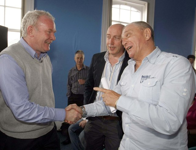 Peter Sheridan, centre, with the late Martin McGuinness and senior loyalist Jackie McDonald, during a meeting in the Falls Road Library. Photo; Colm O'Reilly Pacemaker Press.