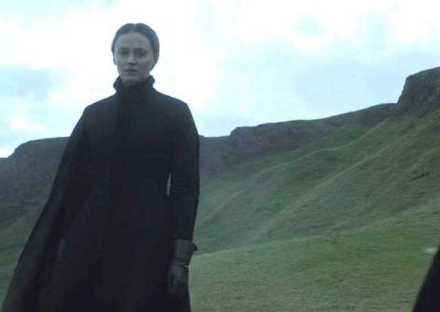 Sansa Stark (Sophie Turner) pictured in O'Cahan territory at Binevenagh in County Derry during a scene from Season 5 of Game of Thrones.