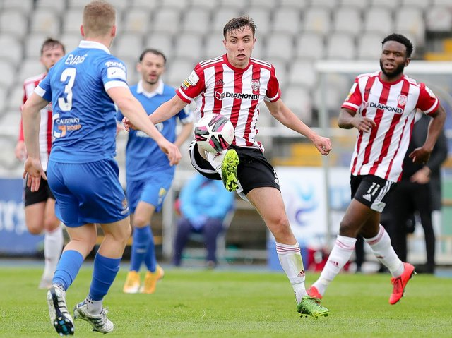 Derry City's Joe Thomson in action at Waterford. Picture by Kevin Moore/MCI