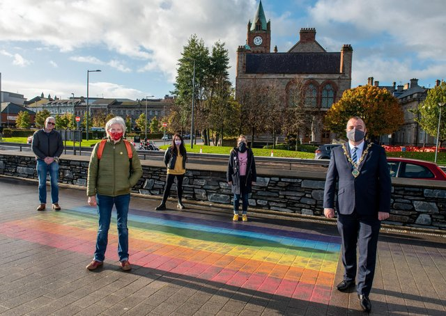 Brian Tierney, Mayor of Derry City and Strabane District Council pictured at the Rainbow Pathway on the quayside with Sha Gillespie, Jim Doherty, Chair of Foyle Pride, Dee Abbott and Catherine Hemelryk from Foyle Pride close to where the new crossing will be situated. Picture Martin McKeown. 23.10.20