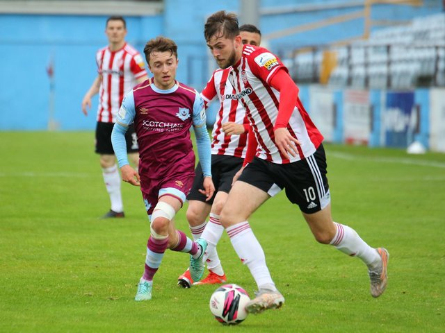 Derry City playmaker and match-winner Will Patching on the ball against Drogheda United on Friday night. Photograph by Kevin Moore.