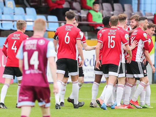 Derry City players celebrate with Will Patching, after his opening goal at Drogheda United, on Friday night. Picture by Kevin Moore/MCI