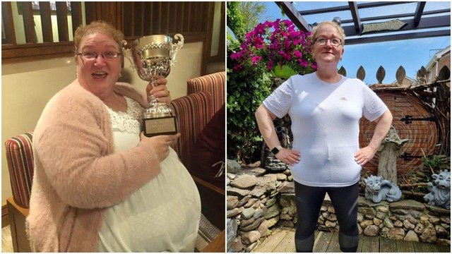 Debbie Walker before and after her huge weight loss. In the last 16 months she has lost almost ten stone and has two more to lose to reach her target weight.