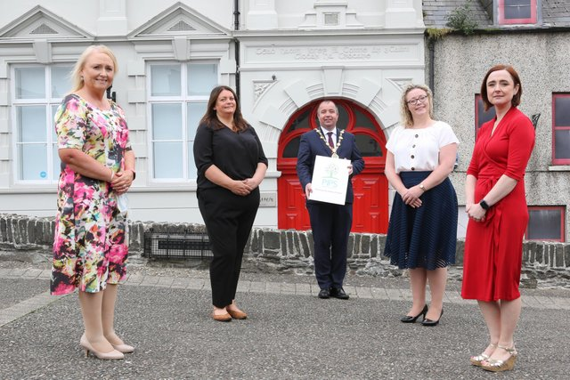 L-R: Martina Mcilkenny PIPS, Yvonne McGrory-Reader, PIPS, Mayor of Derry & Strabane Brian Tierney, Renee Quinn, Executive Director PIPS and Prof Siobhan O'Neill, Interim Mental Health Champion.