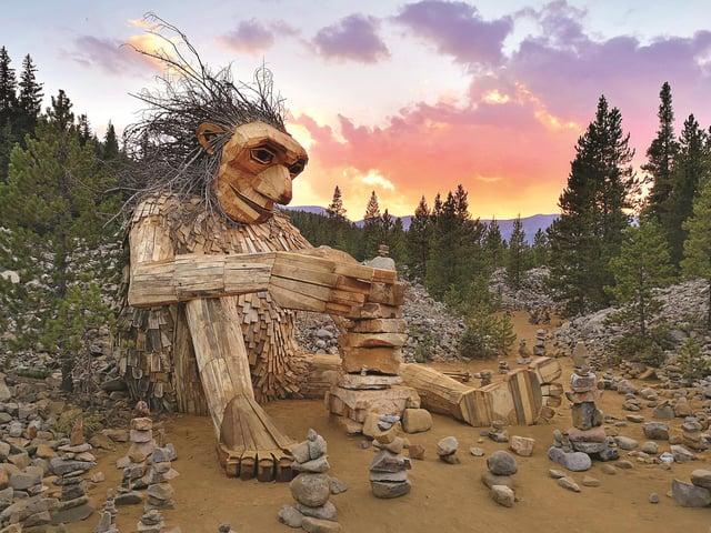 The Isak Heartstone Sculpture, Breckenridge, Colorado USA by Thomas Dambo
