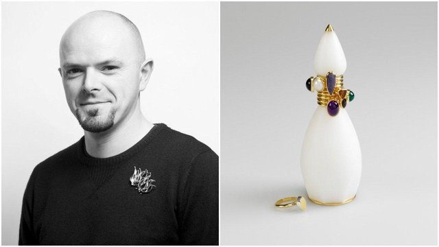 David McCauley and the piece of jewellery he designed 'Lotus' (picture on the right © National Museum of Ireland)