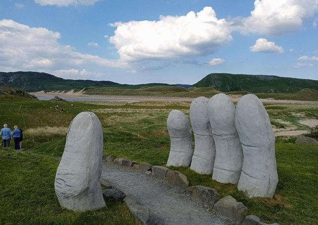 The Hand of Doagh sculpture on the Isle of Doagh by artist Danny O'Donnell.