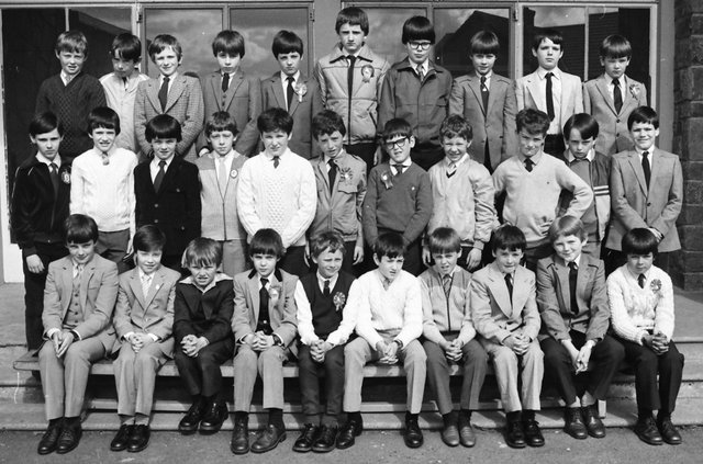 One of the P7 classes at St Patrick's Boys' PS, Pennyburn, who were confirmed in May 1983.