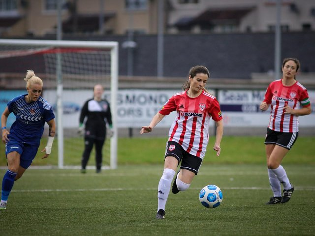 Derry City Women's Eimear Lafferty takes the ball out from the back during Wednesday night's game against Crusaders Strikers. Picture by JPJPhotography