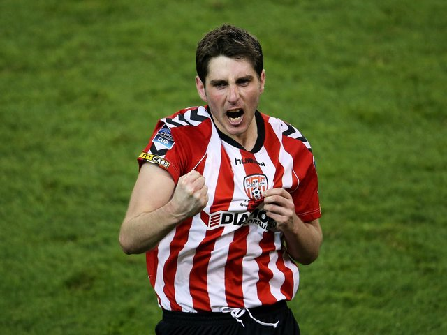 Ruaidhri Higgins celebrates winning the FAI Cup with Derry City at the Aviva Stadium in 2012.