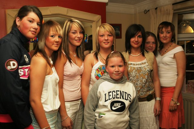 Birthday girl Leanne Dobbins with the girls at her birthday party.