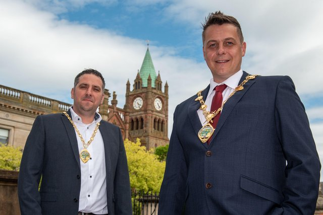 Derry City and Strabane District Council Mayor Alderman Graham Warke and Deputy Mayor Christopher Jackson, left. Picture Martin McKeown. 07.06.21