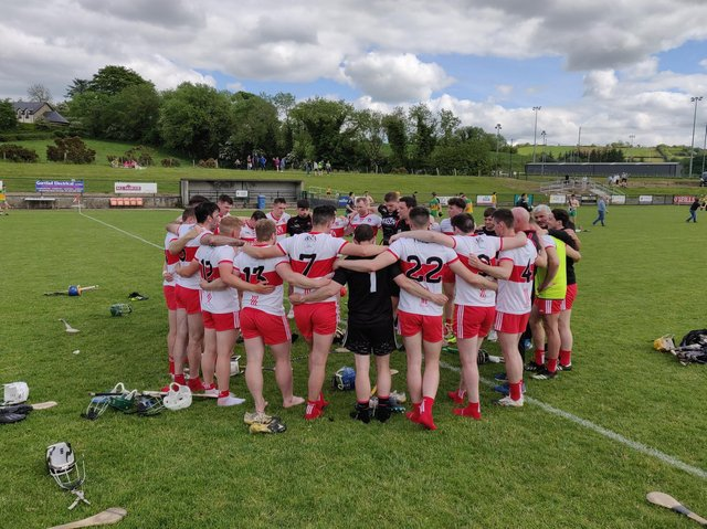 Derry hurlers in a huddle after defeating Donegal at Ballinascreen on Sunday.
