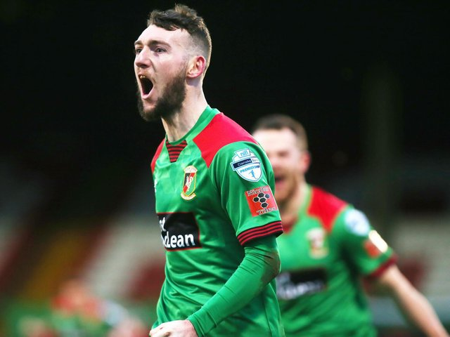 Glentoran's Jamie McDonagh celebrates after scoring a late winner against Cliftonville. Picture by Jonathan Porter
