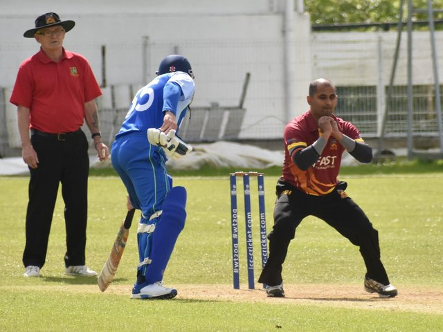 Bready's Steve Lazars with a nice caught and bowled during Sunday's win over Burndennett. Picture by Lawrence Moore