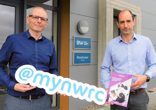 Dr Fergal Tuffy, NWRC BSC Technology Innovation Manager (left) and Joe McGinnis, Managing Director of Braidwater announcing the new KTP collaboration.