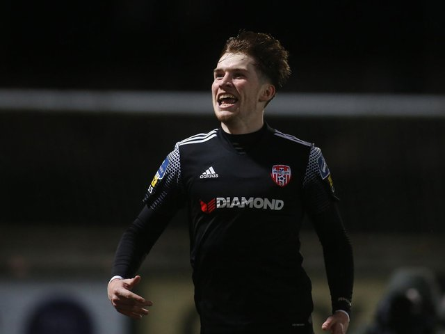Stephen Mallon celebrates his first Derry City goal against Bohemians last year.