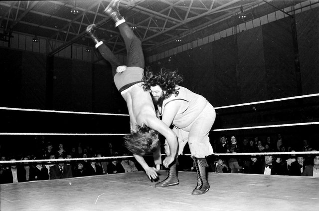 1970s... Giant Haystacks does his thing at Derry's Templemore Sports Complex.