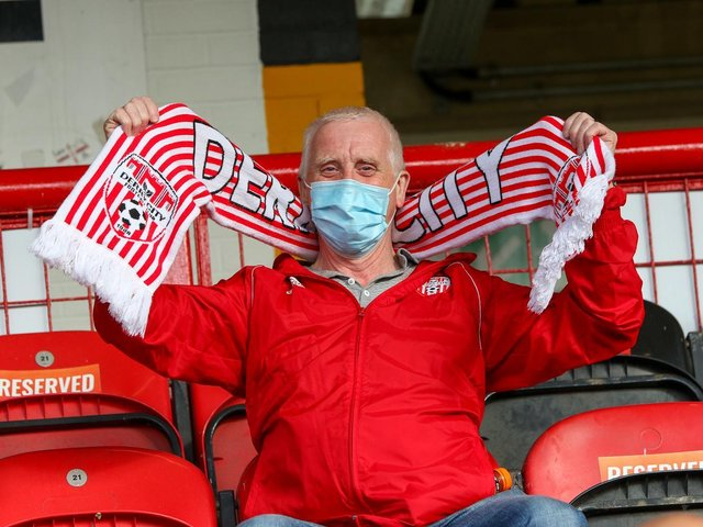 Vincent Dunnion showing his support at Brandywell ahead of the Bohemians match. Photograph by Kevin Moore.