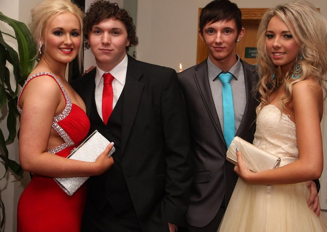 Courtney Cooke and Holie Sargent, with their partners Andrew Totton and Corey Wilson, arriving for the Lisneal College annual formal dinner in the Everglades Hotel. INLS 1248-524MT.