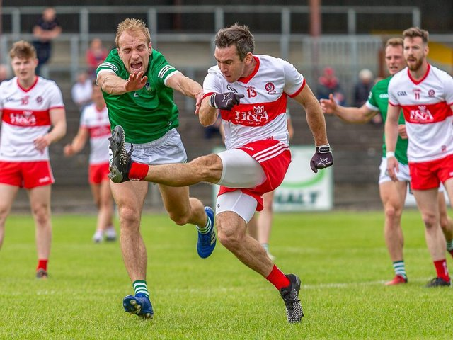 Benny Heron scores a superb point during the first half of Saturday's Division Three semi-final in Carrick-on-Shannon. (Photo: Stefan Hoare)