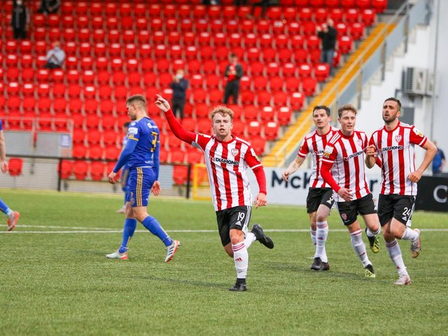 Derry City winger Marc Walsh celebrates his late equaliser against Bohemians on Friday night. Photograph by Kevin Moore.