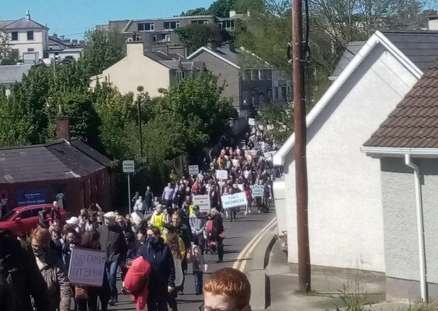A small section of the large crowd who recently attended the march in Buncrana.