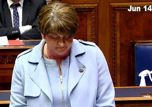 Arlene Foster delivering her final speech this afternoon.