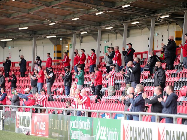 A section of the Derry City support at Friday night's match in the Ryan McBride Brandywell Stadium. Photograph by Kevin Moore (MCI).