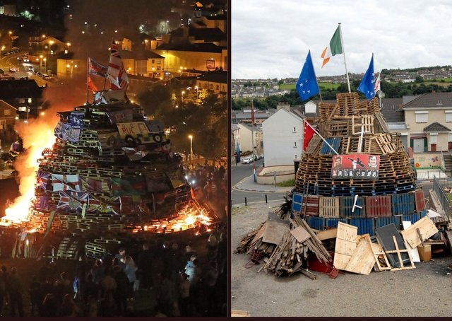 Previous bonfires in the Bogside and Fountain estates in Derry.